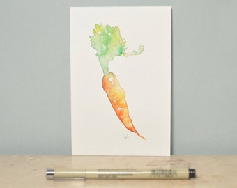 "One of a kind original watercolor Carrot. Kitchen decor. Paper 100mm x 150mm / 5.9"" x 3.9"""