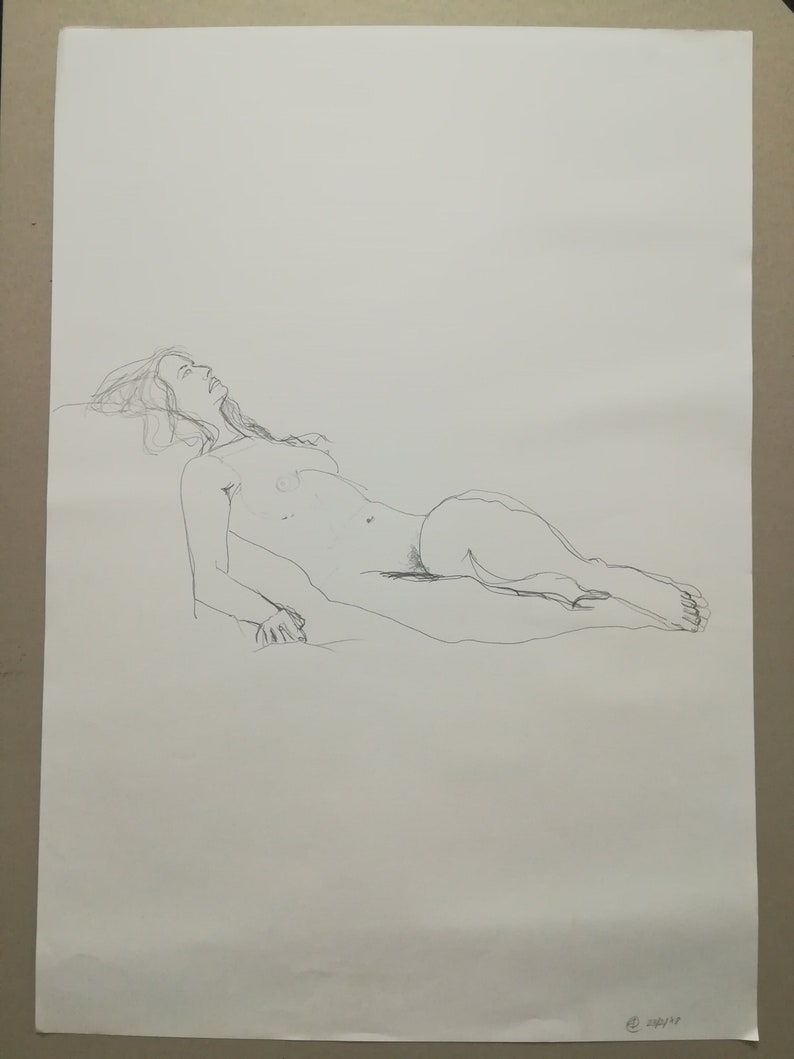 One of a kind original art pencil drawing female nudity etsy