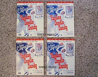 "Four Patriotic Sheet Music, James Cagney, ""Yankee Doodle Dandy"", 1942 Movie, George M. Cohan"