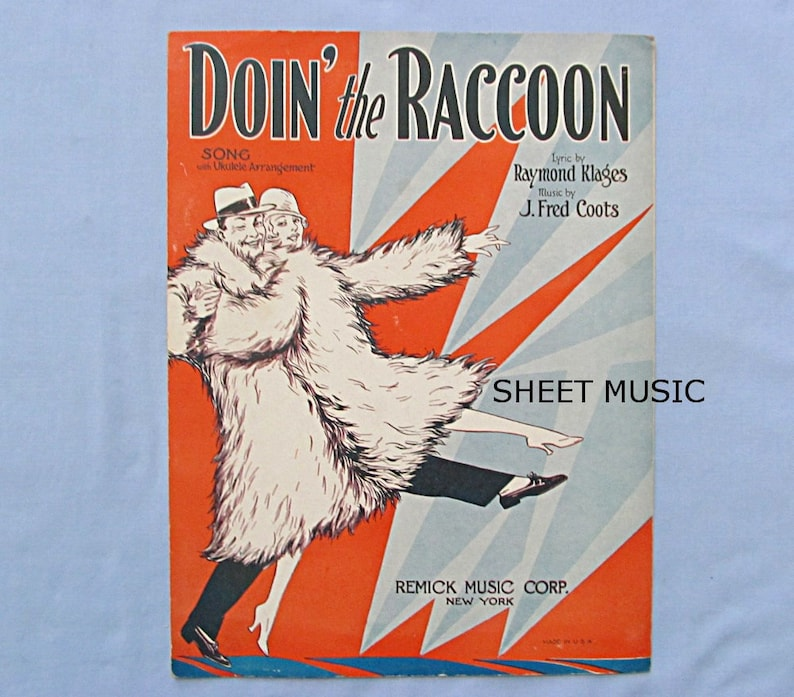 Six Sheet Music, Comic Songs and Cute Cover Illustrations, 1920s-1940s,  Orange