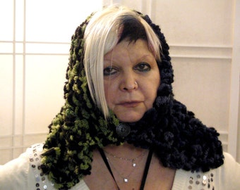 Handmade wool hooded scarf,curl wool,polyester and acrylic