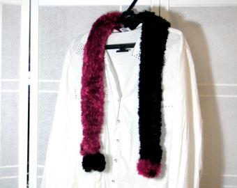 black red scarf,handmade knitting,viscosa polyamide