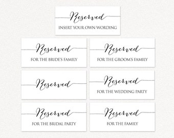 image regarding Printable Reserved Signs for Wedding named Reserved desk indication Etsy