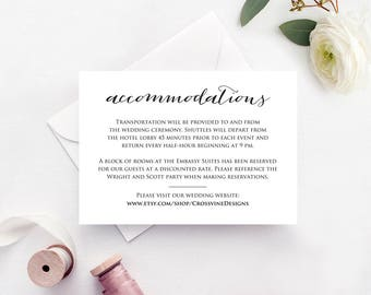 details card insert wedding information card template diy etsy