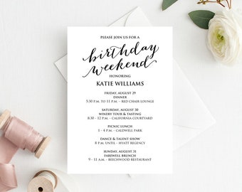 weekend itinerary etsy