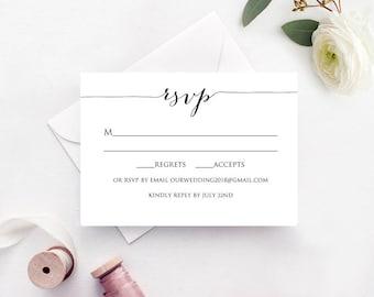 Wedding Response Card Template | Rsvp Cards Rsvp Card Template Rsvp Cards Wedding Rsvp Card Etsy