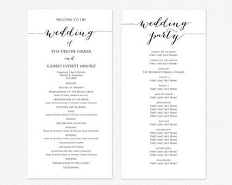 wedding program templates ceremony program template diy etsy