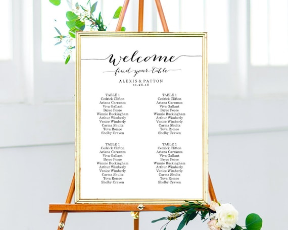 Seating Chart 2 8 Tables Seating Chart Wedding Seating Chart Template Table Plan Seating Plan Wedding Seating Chart Poster