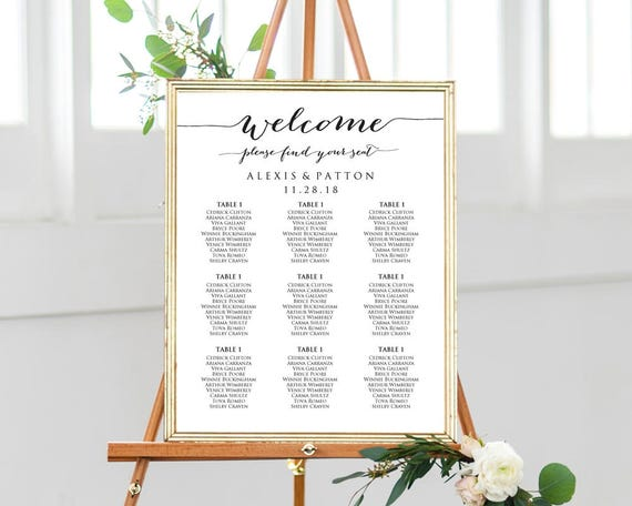 Welcome Please Find Your Seat Wedding Seating Chart Templates Etsy