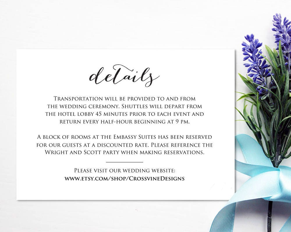 details card insert wedding information card template diy