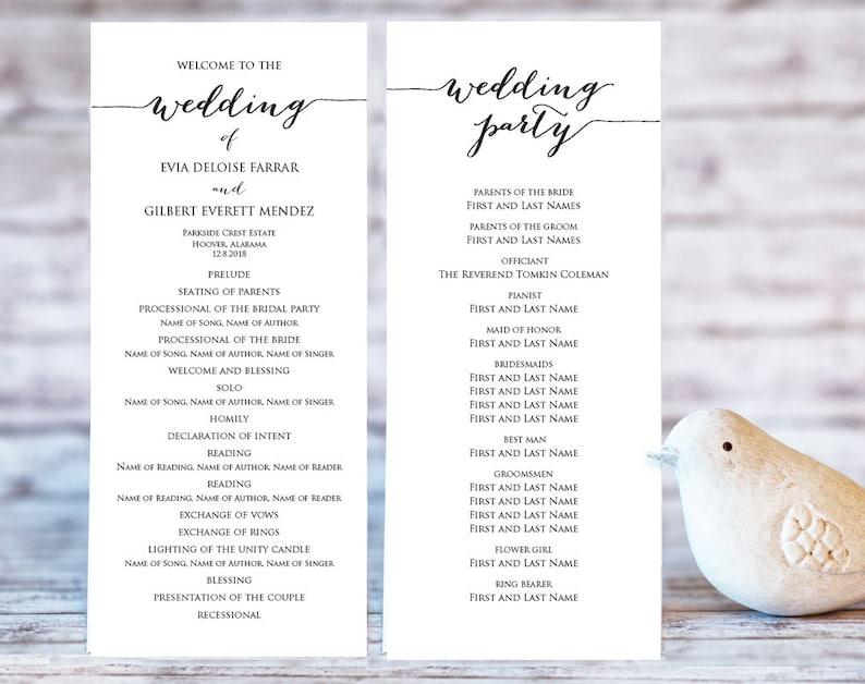 Wedding Programs Templates.Wedding Program Templates Ceremony Program Template Diy Wedding Wedding Program Printable Template Editable Program Template