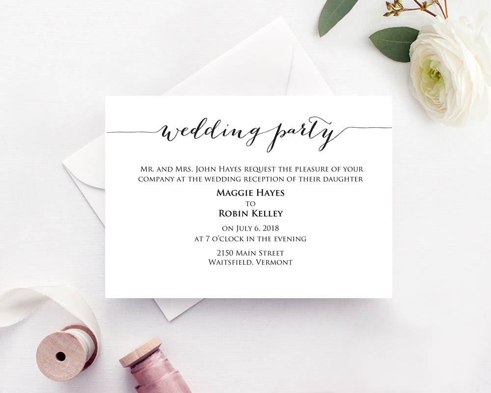 wedding party card insert wedding information card template