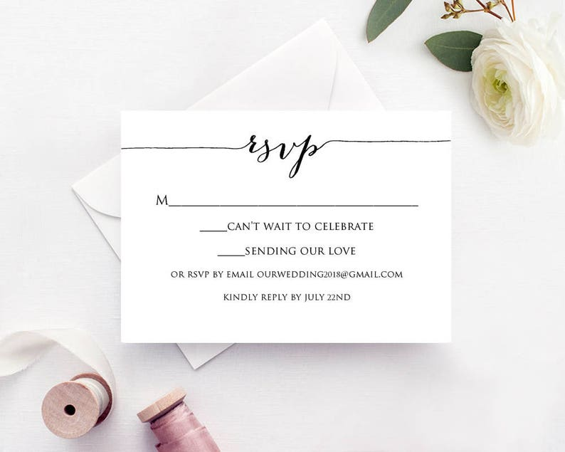 RSVP Cards Rsvp Card Template Rsvp Cards Wedding RSVP Card image 0