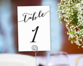 1-50 Table Numbers Printable Template In TWO Sizes, Wedding Table Seating Template, Table Number Cards, Wedding Printable