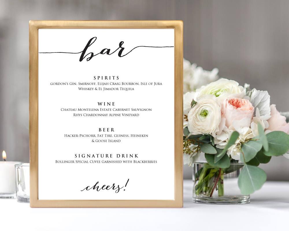 bar menu wedding sign template 8x10 wedding sign instant | etsy