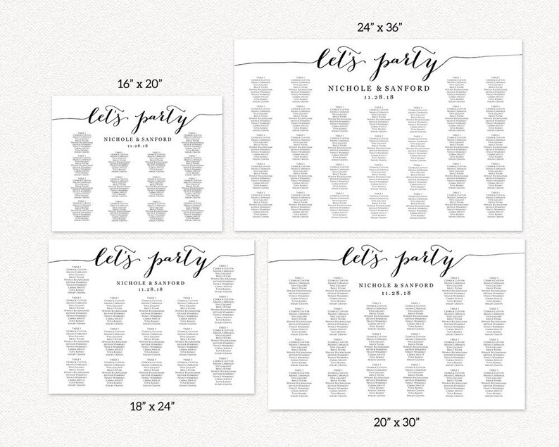 Let/'s Party Wedding Seating Chart Template in FOUR Sizes Reception Sign DIY Printable Wedding Sign Seating Chart Poster