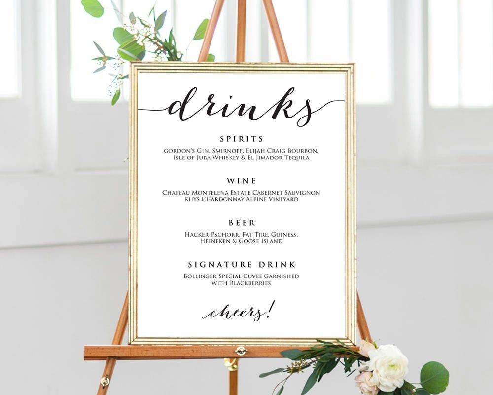 Custom Drink Drink Menu Sign Wedding Bar Drinks Sign 8x10 Custom Template Editable Template Wine and Beer Sign DIY Wedding Reception Sign