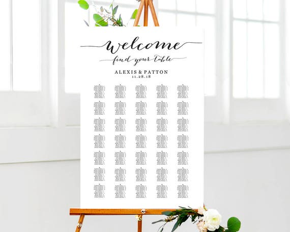 welcome wedding seating chart templates four templates etsy