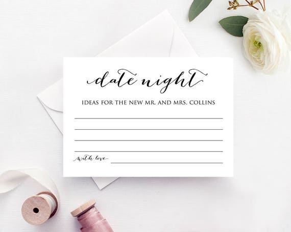 Date Night Ideas Card Template Bridal Shower Game Template   Etsy