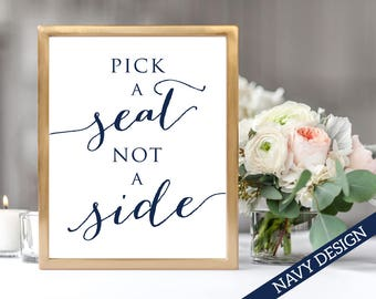 Pick A Seat Not A Side Wedding Sign Template, 8x10 DIY Sign Printable, Wedding Ceremony Sign, Printable Wedding Templates