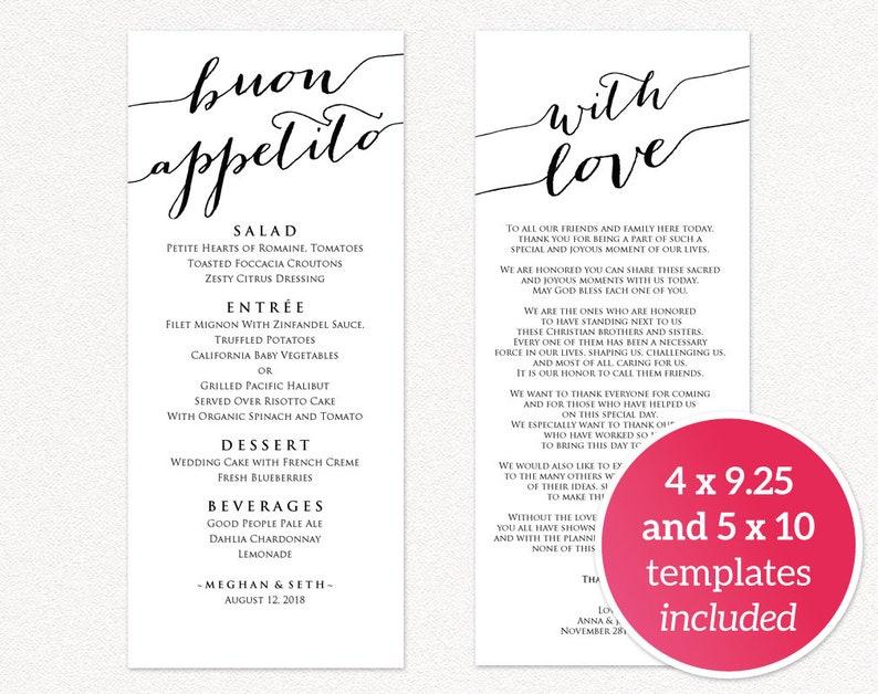 Menu Wedding Wedding Menu Cards Wedding Menu Printable Wedding Menu Template Buon Appetito Menu Template Menu Cards Wedding Menu