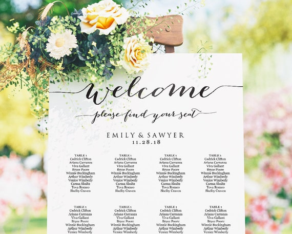 Wedding Seating Chart Wedding Seating Chart Template Wedding Etsy