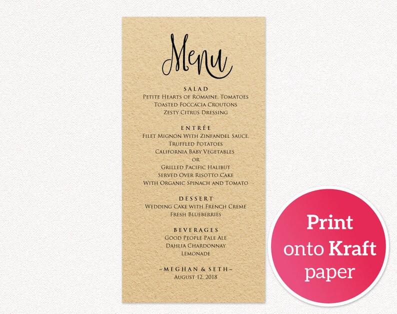 Instant Download DIY Bride Printable Wedding Menu Template Editable Wedding Menu Wedding Menu Templates DIY Wedding