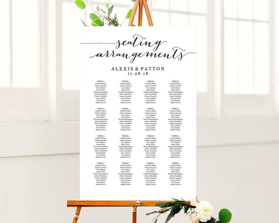 seating arrangement chart seating arrangement chart template etsy