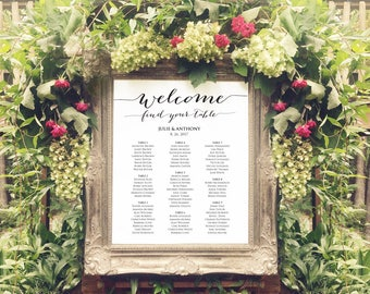 Wedding Seating Chart Template, Welcome Find Your Table in FOUR Sizes -  16x20, 18x24, 20x30, 24x36, Poster Printable, Reception Sign
