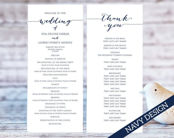 Wedding Program Templates Ceremony Program Template Two Etsy