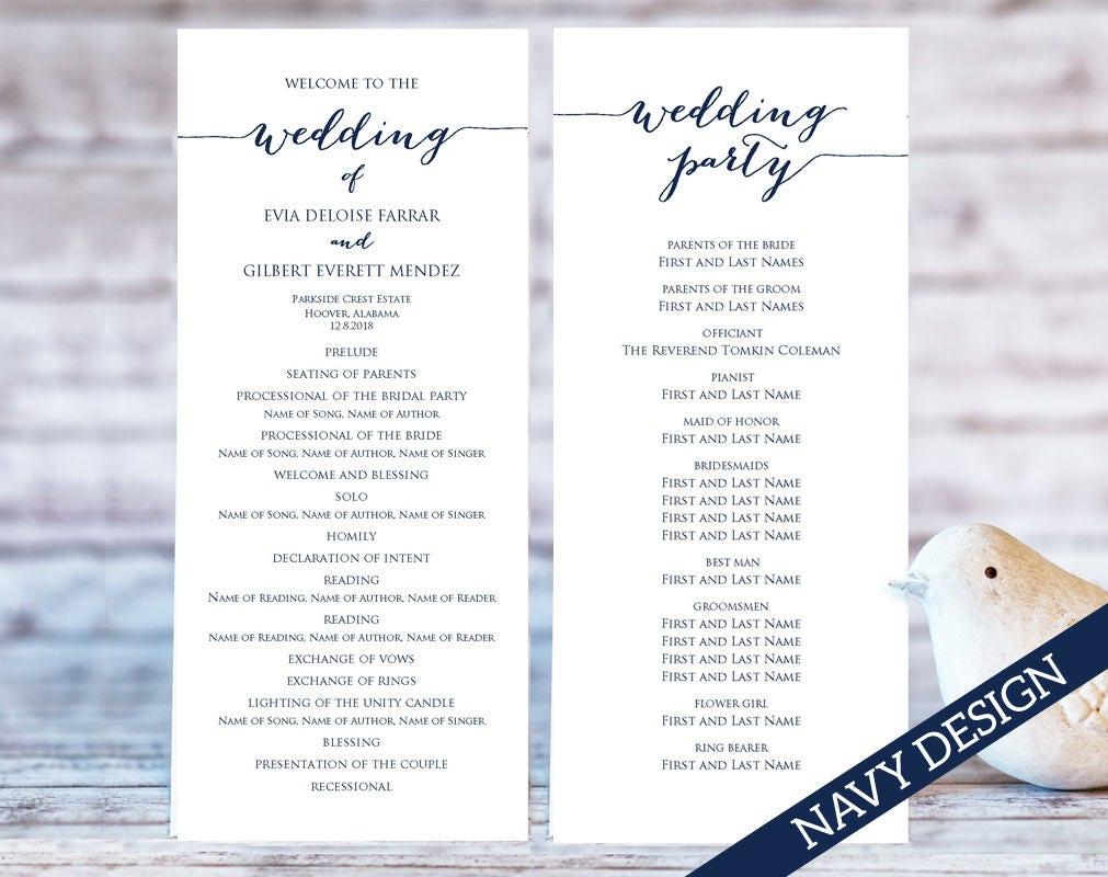 wedding programs wedding program template programs program etsy