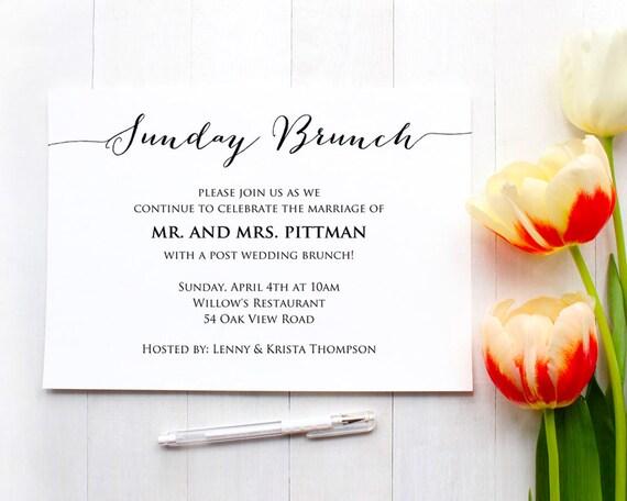 sunday brunch details card insert wedding information card etsy