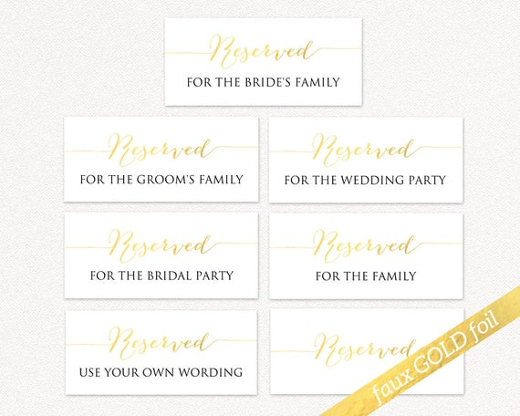 buy online great prices pretty cool Printable Reserved Wedding Signs, Faux Gold Foil Effect Reserved Table  Signs, Wedding Reception Signs, PDF Instant Download
