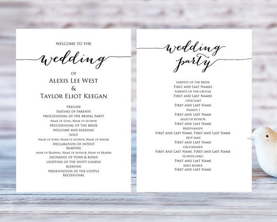 Wedding Program Templates, Ceremony Program Template, DIY Wedding, Wedding  Program Printable Template, Editable Program Template