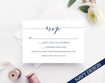RSVP Card Template, Edit & Print Instant Download DIY Template, Printable Insert Card Templates, Wedding Response Card Template