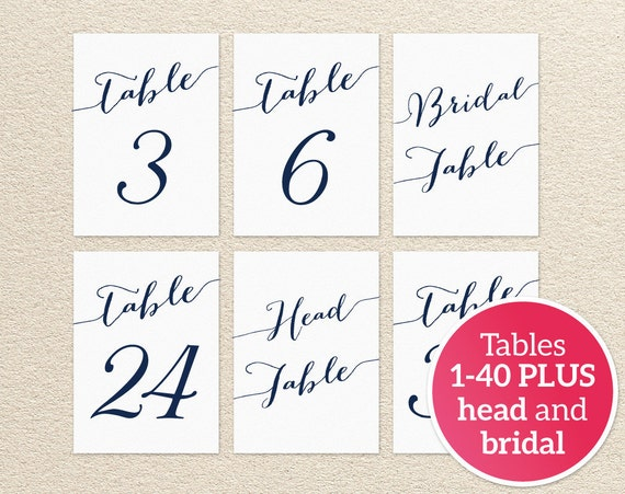 1 40 Table Numbers Printable Template In Two Sizes Wedding Table Seating Template Table Number Cards Wedding Printable