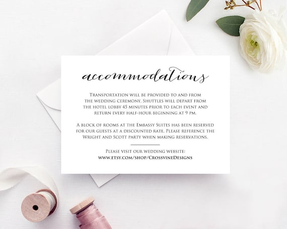 accommodations card insert wedding information card template etsy