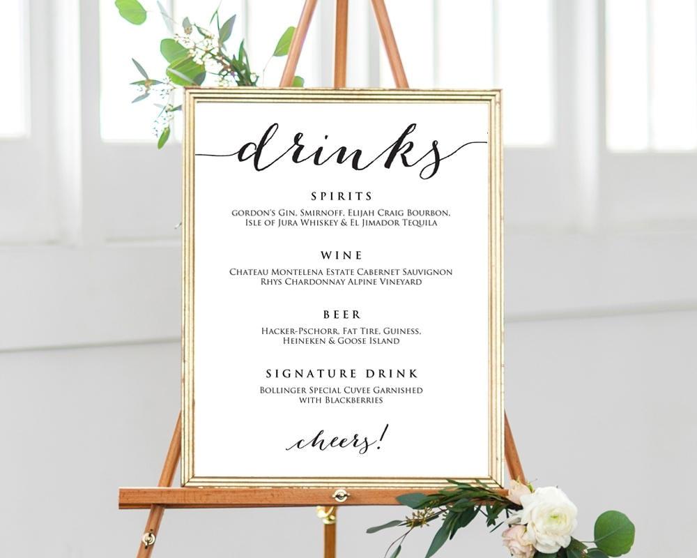 16x20 drinks wedding menu sign wedding sign zoom junglespirit Gallery