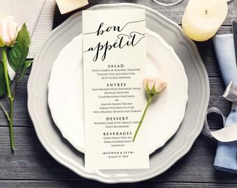 Bon Appetit, Wedding Menu, Wedding Menu Cards, Wedding Menu Template, Wedding Menu Printable, Menu Template Wedding, Menu Template Download