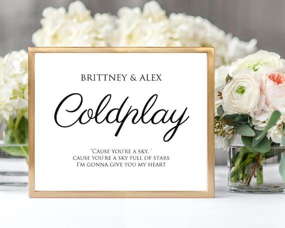 custom table cards printable 5x7 band name lyrics table etsy