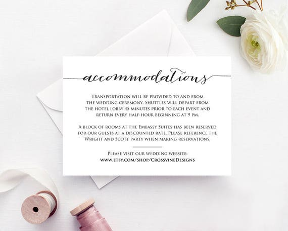 Accommodation Cards Accommodation Card Template Etsy