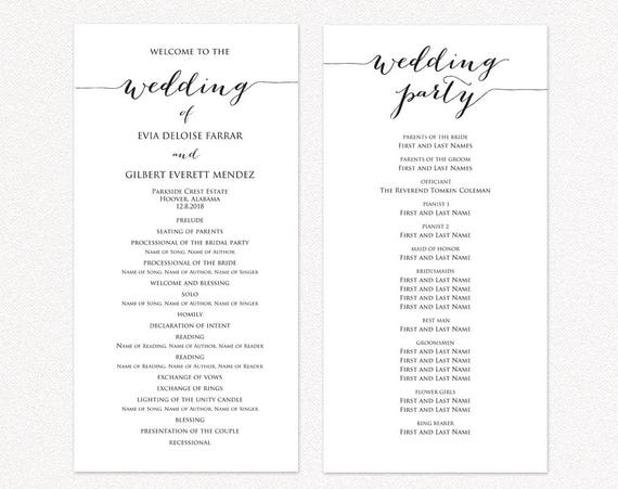 Wedding Program TWO Templates Ceremony Template DIY