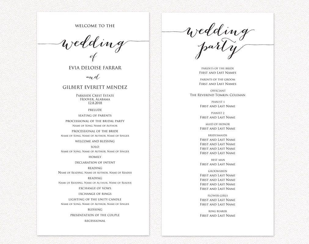 Wedding Program Two Templates Ceremony Program Template Diy Etsy
