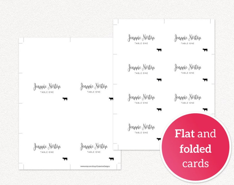 Place Cards With Meal Icon Place Card Template Place Cards Wedding Place Cards Printable Place Cards with Meal Choice Escort Cards