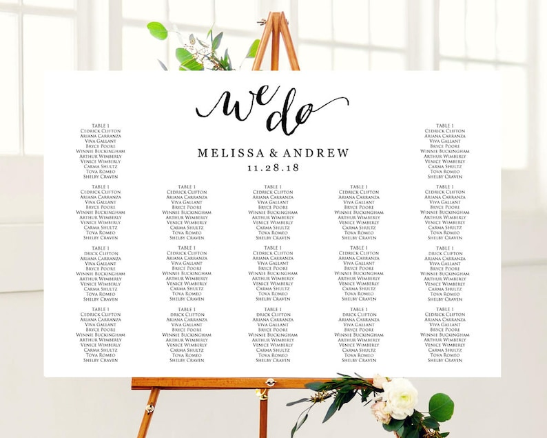 We Do Wedding Seating Chart Template In Four Sizes Wedding Sign Seating Chart Poster Diy Printable Reception Sign
