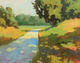 Sunlit Road —Original Small Oil Painting