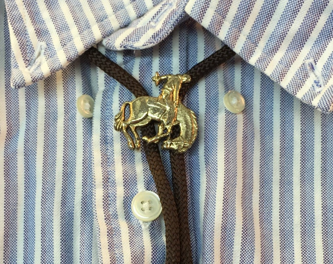Bolo Cowboy On Horse, Vintage Country Concert Necklace, western wear