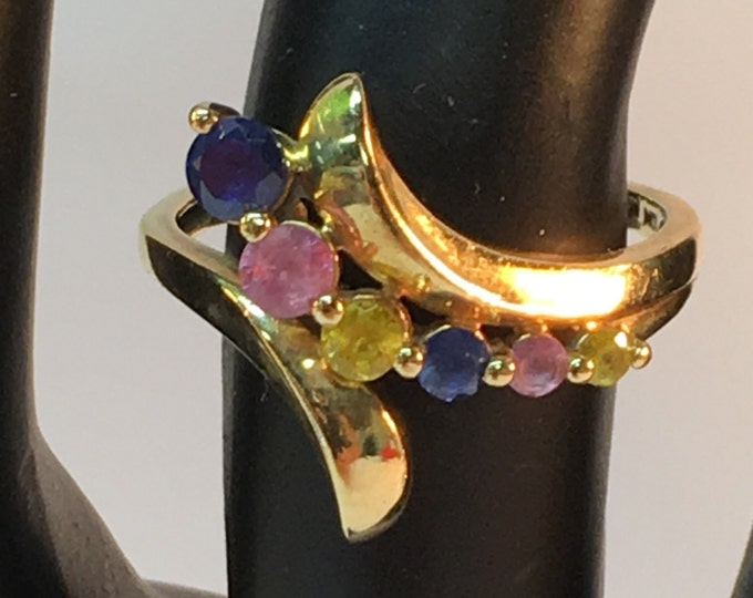 10k gold gemstone Ring, Colored semi precious jewels ring size 6 1/2