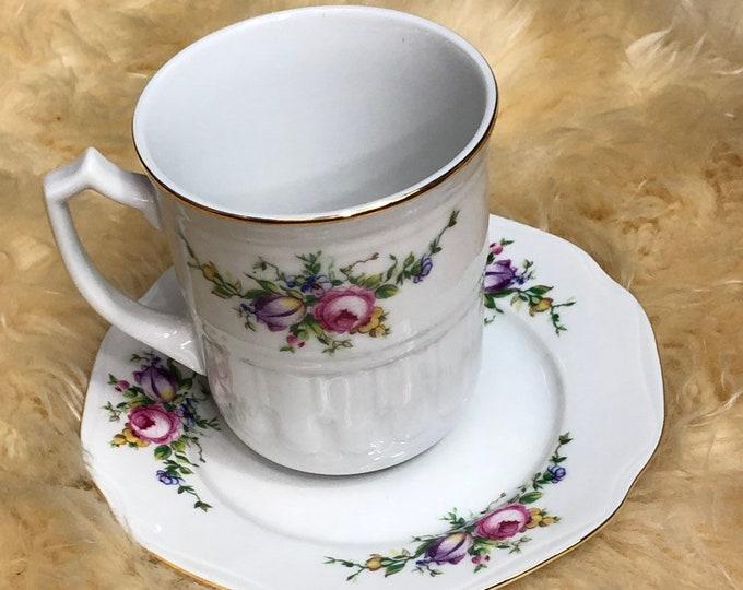 Leander Floral Tea Cup and Saucer, Vintage Tea Set, Collectible Porcelain Mug