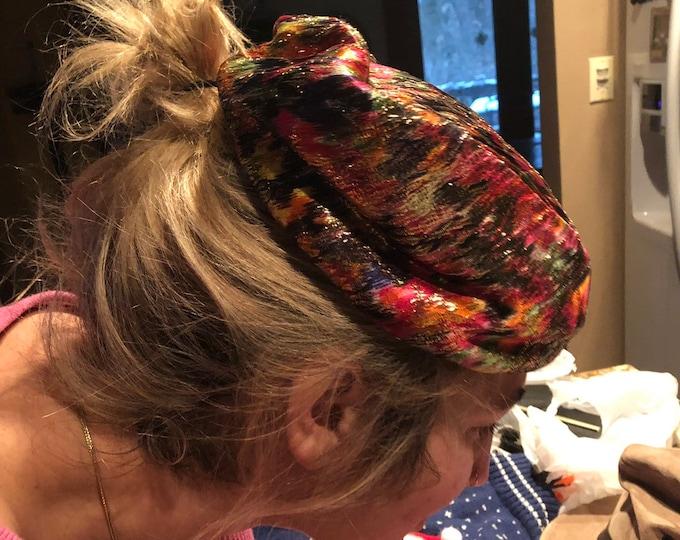 Gold Lame Pillbox Hat, Vintage Women's Hat, Psychedelic Colors Retro Fashion Hat